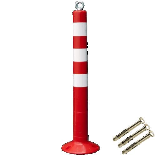 Столбик сигнальный упругий ССУ-750-Ц с проушиной и крепежом [мягкий, гибкий, парковочный дорожный столбик]