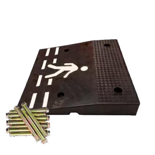 Резиновый пешеходный переход (приподнятый) концевой элемент [с крепежом]